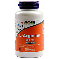 Now Foods, L-аргинин, 500 мг, 100 капсул