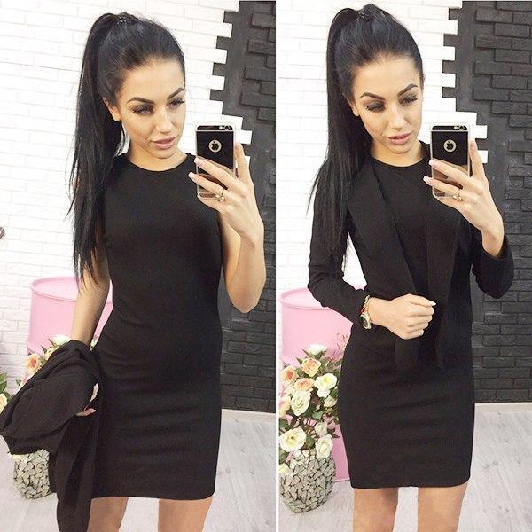 Элегантный классический женский костюм платье и жакет Эсмик, черный