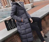 Куртка зимняя женская синяя, длинный пуховик  СС-8465-75