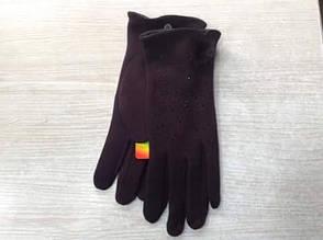 Тёплые чудесные женские перчатки cо стразиками