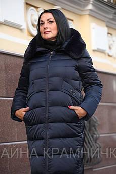 """IL13476 Пальто жін зимове  """"Ольга"""" мутон капюш морська хвиля р.52"""