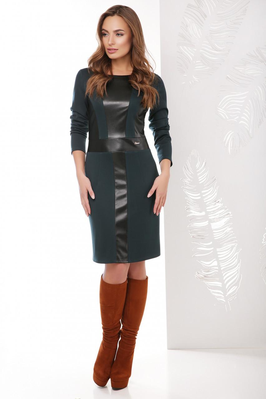 Женское прямое приталенное платье с отделкой из эко-кожи спереди с длинными рукавами, темно-зеленое