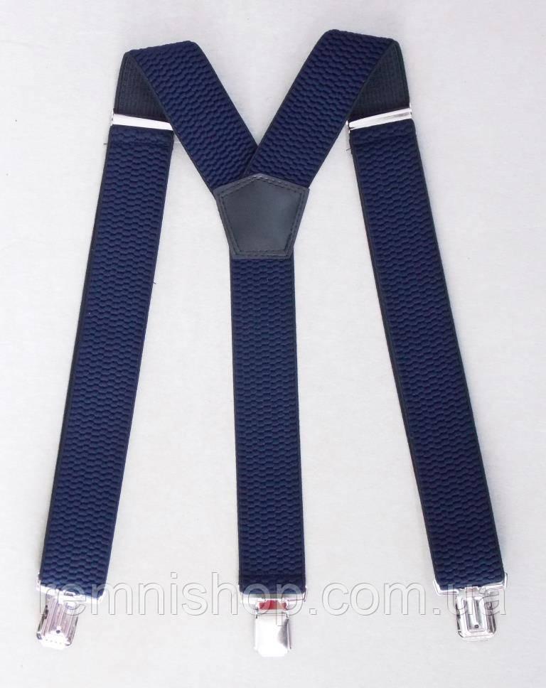 Синие мужские подтяжки, ширина 4 см.
