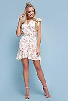 Летнее  шелковое платье на лето короткое в горох с цветами и рюшами Алиса б/р желтое