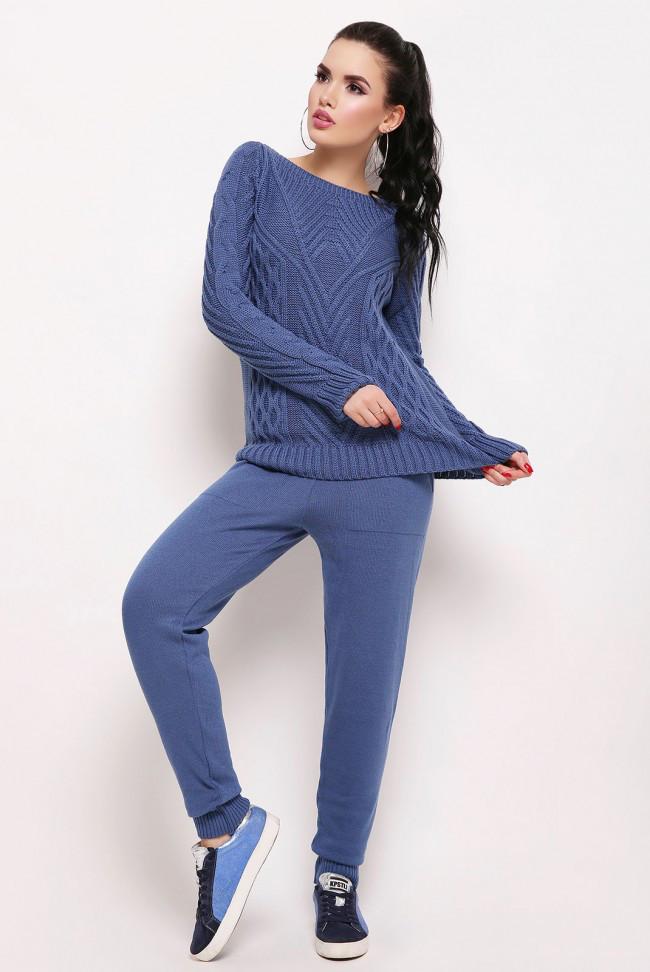 Вязаный женский спортивный костюм демисезонный синий