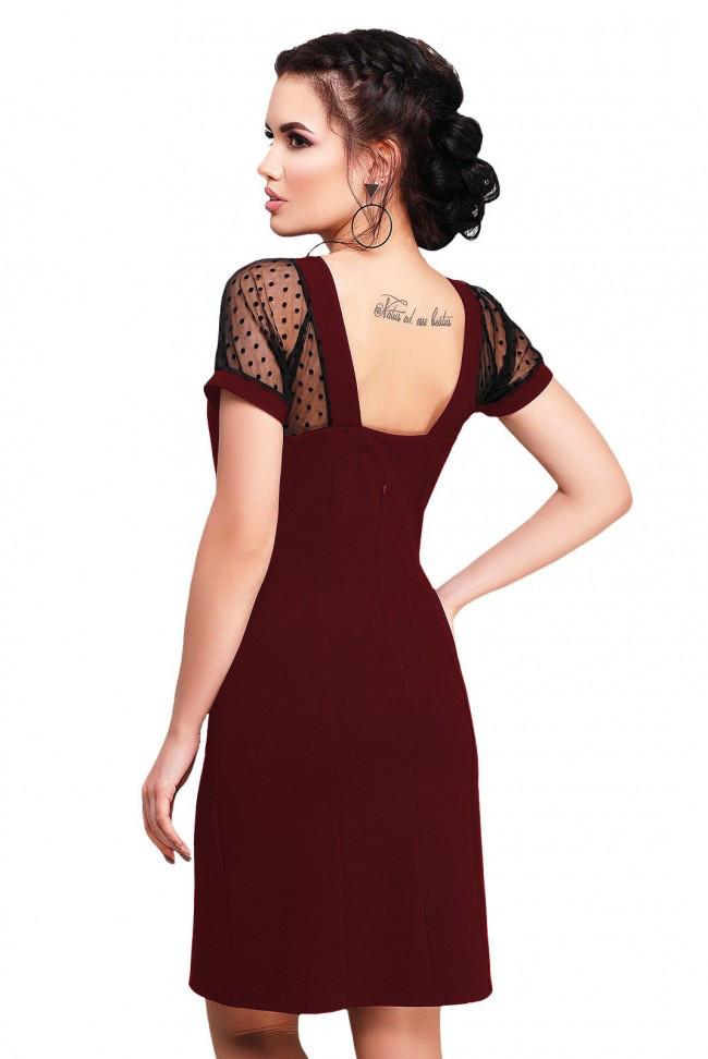 """Элегантное платье цвета марсала с вставками из сетки и вырезом на спине """"Alexandra"""""""