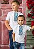 Стильна вишита футболка для хлопчика білого кольору із синім геометричним орнаментом «Дем'янчик»