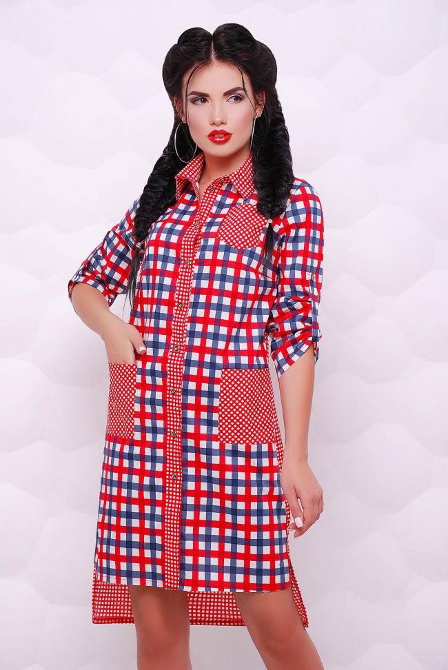 dc20948c45c Асимметричное Красное Платье-рубашка на Пуговицах в Клетку