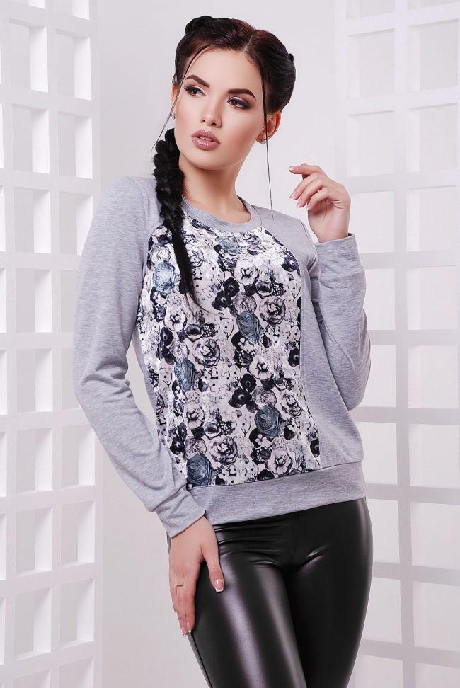 """Женский спортивный светло-серый свитшот на резинке с принтом Черные розы """"Rosie"""""""