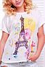 """Широкая женская белая футболка с коротким рукавом и принтом Башня акварель """"Air"""", фото 2"""