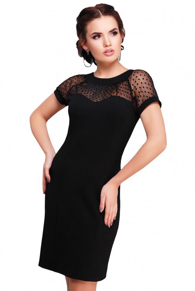 51e00d4d535 Элегантное черное платье с вставками из сетки и вырезом на спине