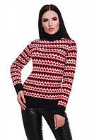 """Красивый вязаный женский свитер с воротником под горло узоры """"ANNY"""" черный ромбики"""