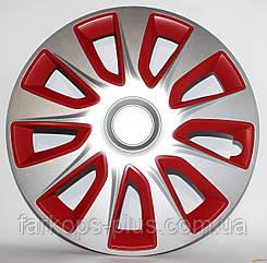 Колпаки на колеса R13 красно / серые RD/BK Стратос Сильвер