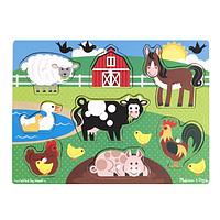"""Деревянная рамка-вкладыш """"Животные фермы"""" для детей с 2 лет /Farm Peg Puzzle ТМ Melissa & Doug MD9050"""