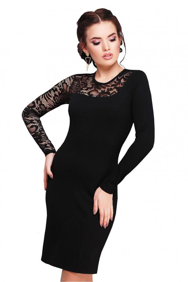 e5b730aaa4e Приталенное черное платье с вставкой из черного гипюра с длинным рукавом