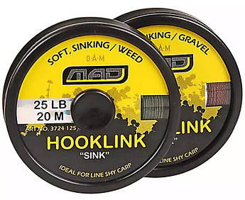 "Шнур поводочный DAM MAD Hooklink 4-braid ""Sink"" 20м 25lb (color-weed)"