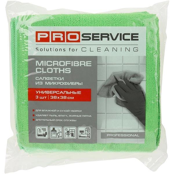 Салфетка из микрофибры ProService зеленая 3 шт