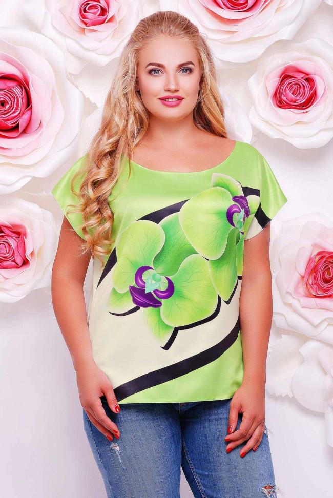 """Свободная женская салатово-белая футболка с коротким рукавом и цветочным принтом Орхидеи """"Beauty"""""""