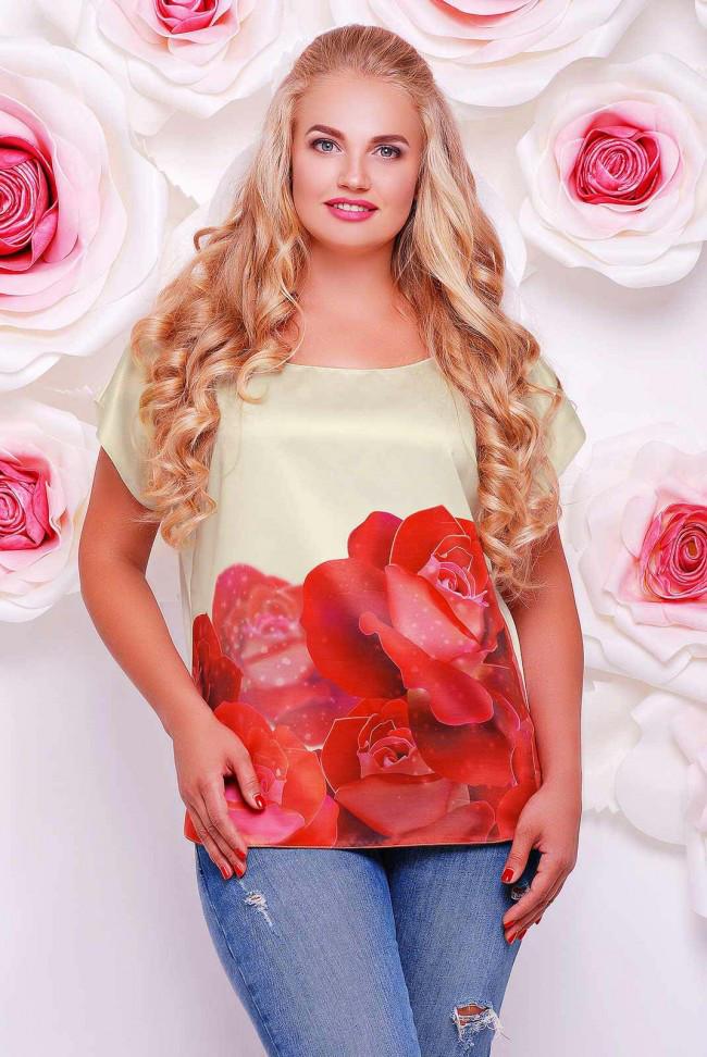 """Свободная женская золотисто-белая футболка с коротким рукавом и цветочным принтом Розы """"Beauty"""""""