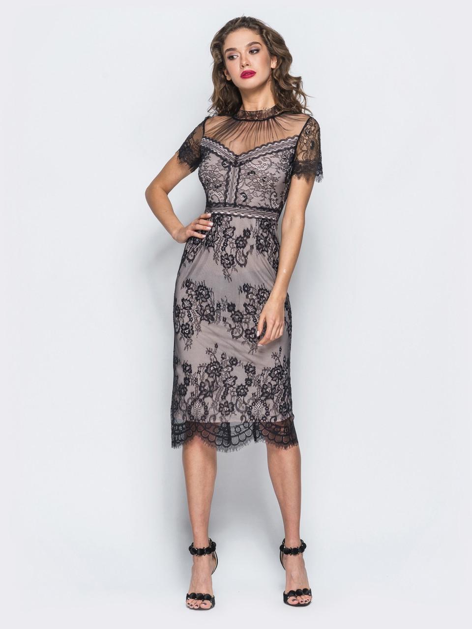 f12f315c180 Изящное нарядное платье-футляр из французского кружева с драппировкой по  лифу р.46