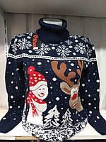 Новогодний свитер с очень смешным снеговиком и оленем р. 44-50 Турция