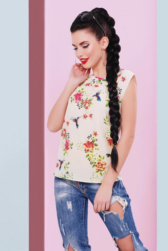 """Прямая женская белая футболка с цветочным принтом Колибри """"Classic"""""""