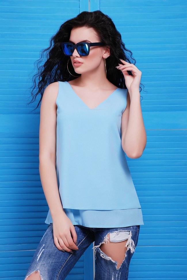 """Легкая шифоновая голубая блузка без рукавов, вырез на спине """"Maya"""""""