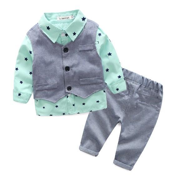 Комплект нарядный жилетка+рубашка+брюки (салат) 70