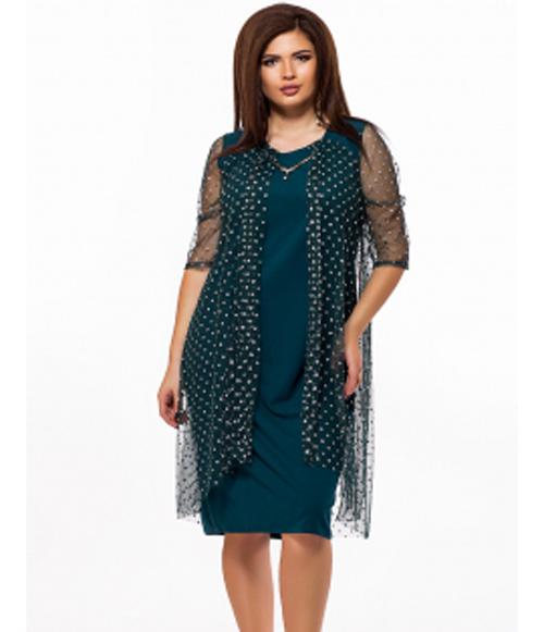 e8808121891 Вечернее платье для полных в горошек цвет бутылка 825641 - СТИЛЬНАЯ ДЕВУШКА  интернет магазин модной женской