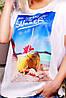"""Свободная женская белая футболка с коротким рукавом и принтом Happy summer """"Air"""", фото 2"""