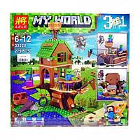 """Конструктор Lele 33220 Minecraft """"Майнкрафт 3 в 1 Дом корабль Зомби""""279 деталей(аналог Lego Майнкрафт, Mine"""