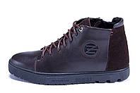 Мужские зимние кожаные ботинки ZG GO GO Man Brown, фото 1