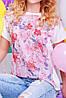"""Свободная женская розово-белая футболка с коротким рукавом и нежным цветочным принтом """"Air"""", фото 2"""