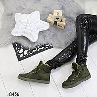 Женские зимние замшевые ботинки на низком ходу реплика Гермес Зеленые, фото 1