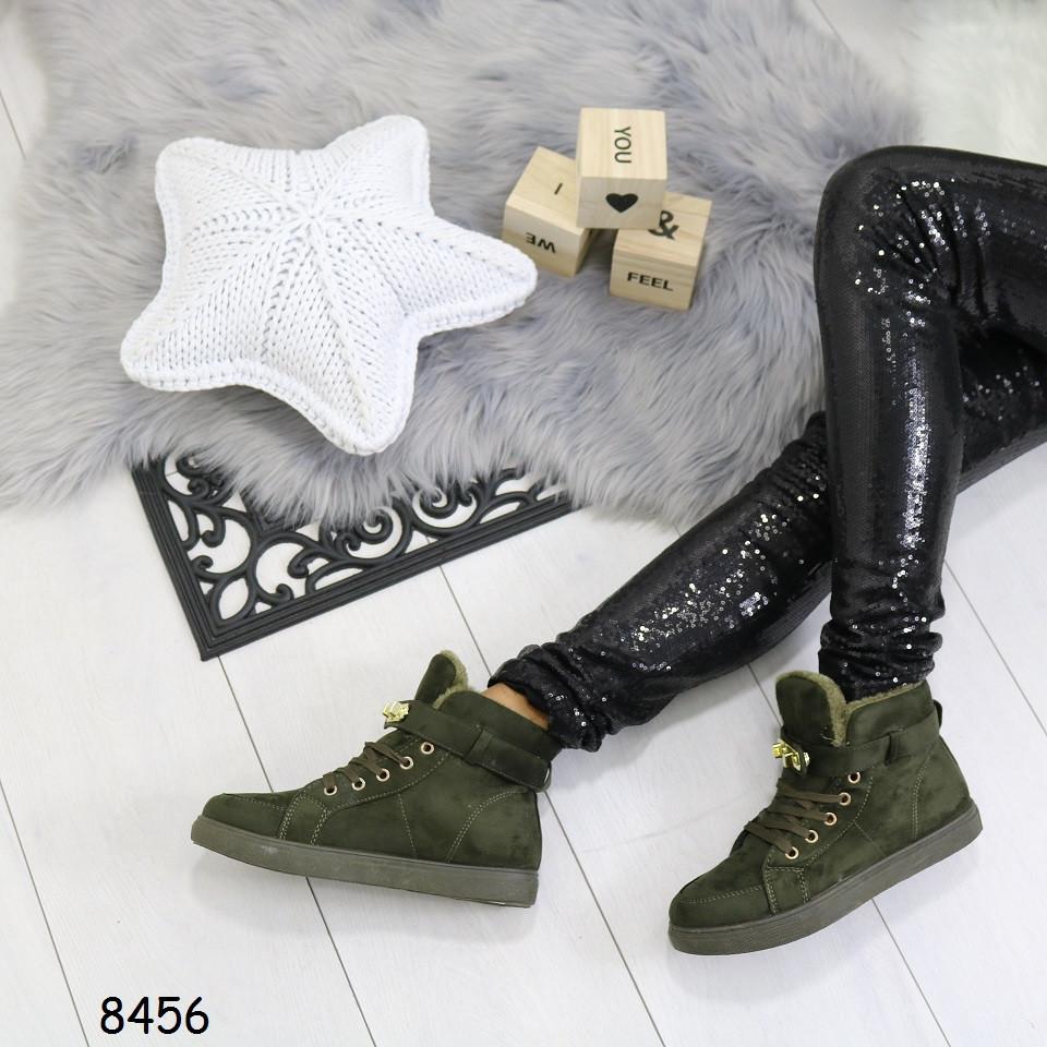 Женские зимние замшевые ботинки на низком ходу реплика Гермес Зеленые