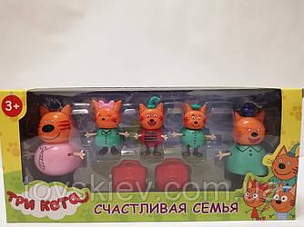 Ігровий набір «Три кота» 5 фігурок Коржик, Карамелька, Компот, Тато і Мама 124