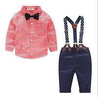 Комплект нарядный клетка брюки+рубашка+подтяжки (красн) 90,95