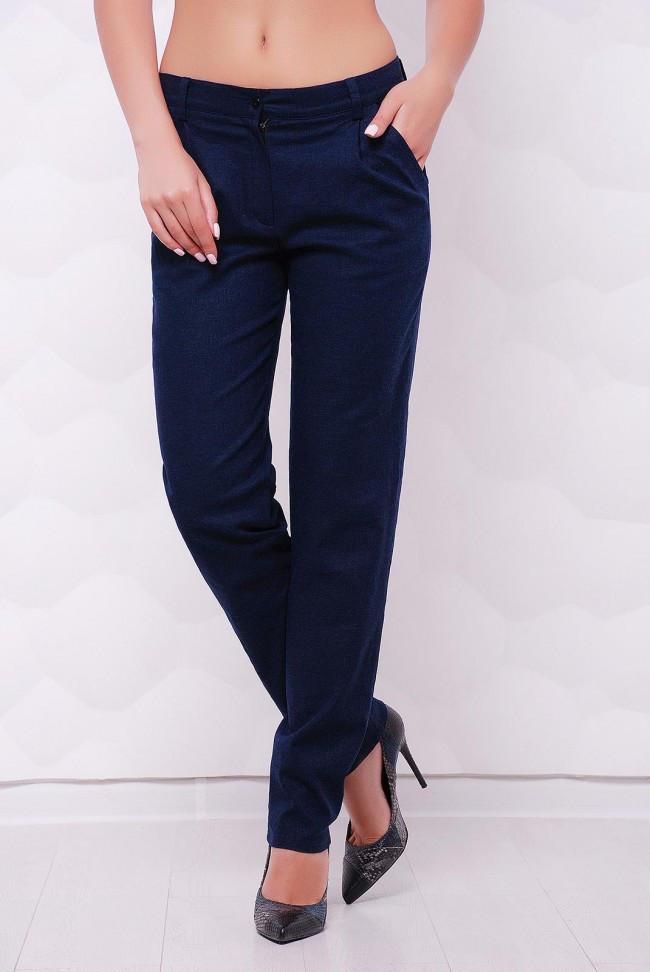"""Классические прямые летние брюки с карманами """"Ninel"""" темно-синее"""