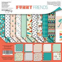 Набор бумаги для скрапбукинга Scrapmir Funny Friends (англ), 20х20см, фото 1