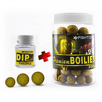 Бойлы насадочные FISHTORIA Premium Boilies 14.18.20мм 200гр + DIP 20мл Ананас
