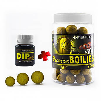 Бойлы насадочные FISHTORIA Premium Boilies 14.18.20мм 200гр + DIP 20мл Меласса