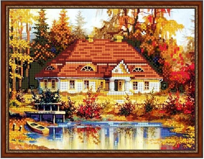 "Схема для вышивки бисером 24х19см ""Осенний домик в лесу"""