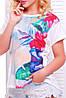 """Свободная женская белая футболка с коротким рукавом и цветочным принтом Гавайские цветы """"Air"""", фото 2"""
