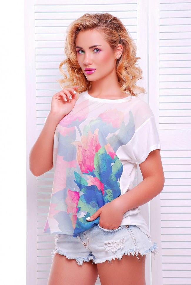 """Свободная женская белая футболка с коротким рукавом и цветочным принтом Тюльпаны """"Air"""""""