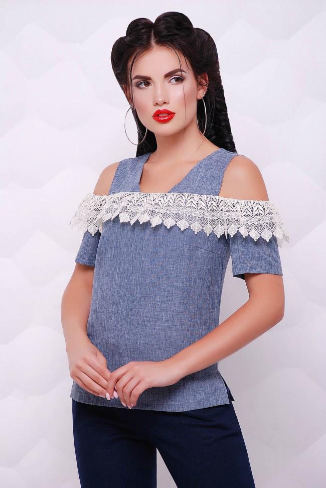 b60fbbe6402 Льняная блузка под джинс с открытыми плечами и кружевом