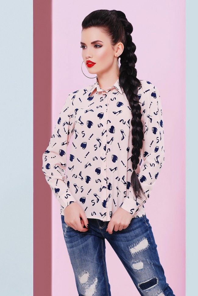fc6e964e122 Молодежная персиковая блузка с принтом сзади на завязке