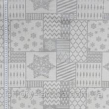 Декоративная новогодняя ткань в стиле пэчворк с принтом серебрянные снежинки Ткани для штор на метраж