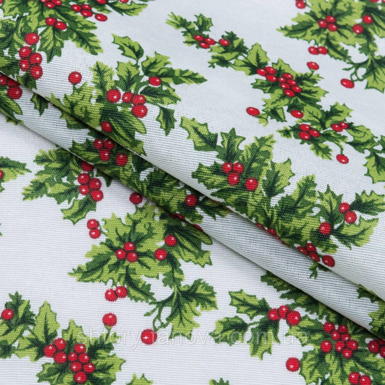 Ткань новогодняя венок фон белый