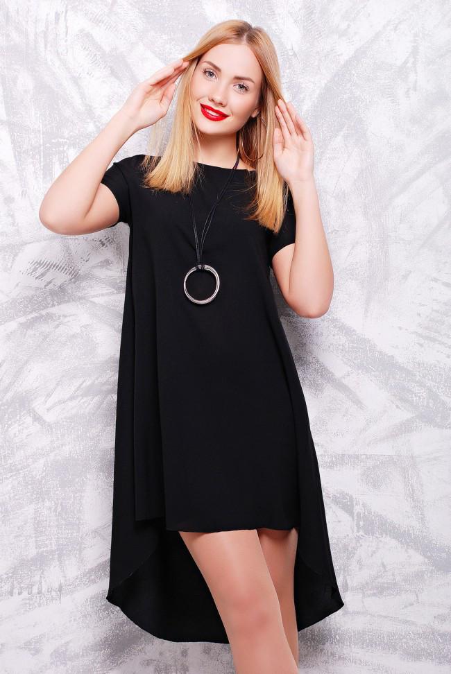 7514813877a Красивое асимметричное черное платье-трапеция с коротким рукавом