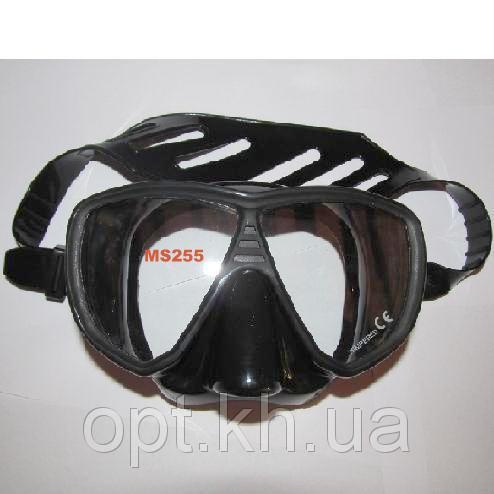 Маска для дайвинга и подводной охоты Exquis MS255 (чёрный силикон) - Maxopt в Харькове